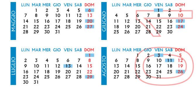Calendario giornate di raccolta 2018