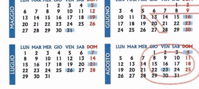 Calendario delle giornate di raccolta 2019